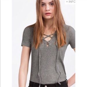 Zara Lace Up Gray Top